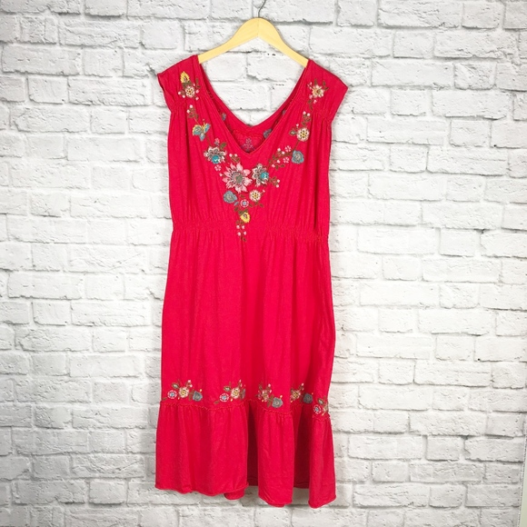 Johnny Was Dresses & Skirts - Johnny Was Red Embroidered Midi Dress
